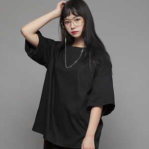 MSUL Loose Fit Wooven Short T-shirt - Black