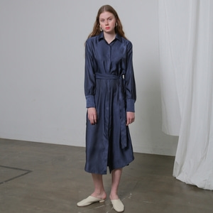 SILKY ROBE DRESS - NAVY