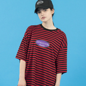 STRIPED LOGO HALF T SHIRTS (red)