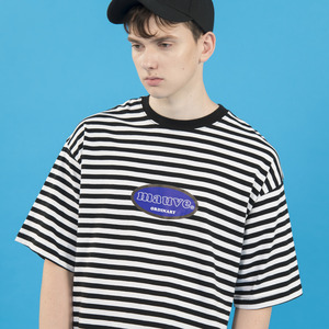 STRIPED LOGO HALF T SHIRTS (white)