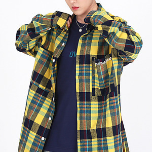 OVER-FIT 2-POCKET LOGO CHECK SHIRTS YELLOW