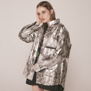 0 8 FAKE LEATHER SHIRT JACKET - SILVER