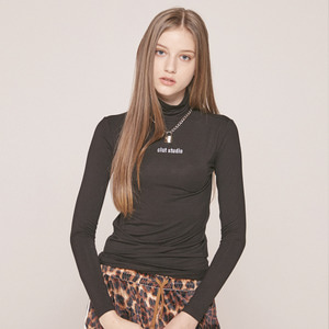 0 5 CLUT STUDIO TURTLENECK TOP - BLACK