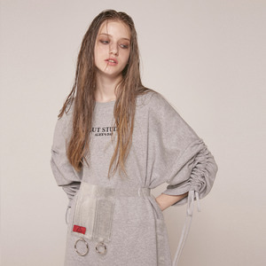 0 3 SHIRRING SWEAT SHIRT - GREY
