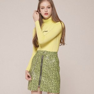 0 9 LEOPARD CHAIN SKIRT - LIME