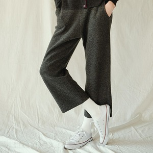 CASHMERE BANDING PANTS (NAVY)