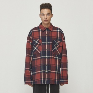 Oversized Check Shirt Red & Navy (D18F082)
