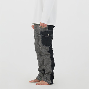 UNBALANCE CARGO DENIM PANTS - BLACK