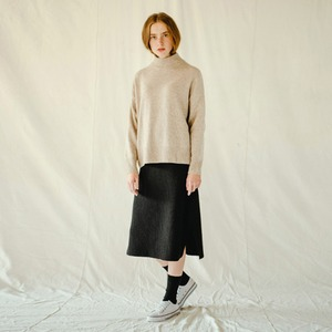 WOOLEN BANDING SKIRT (BLACK)