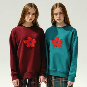 BOUCLE FLOWER SWEATSHIRT (WINE)
