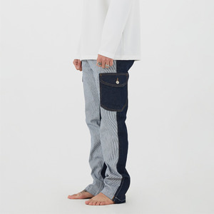 UNBALANCE CARGO DENIM PANTS - BLUE