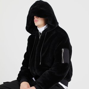 FUR FLIGHT HOOD ZIP UP JACKET (BLACK)