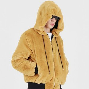 FUR FLIGHT HOOD ZIP UP JACKET (MUSTARD)