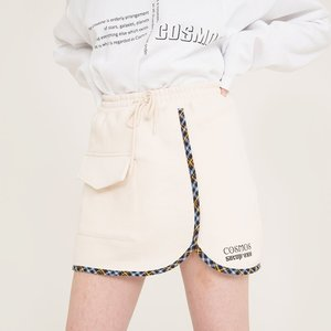 CHECK SKIRT - CREAM