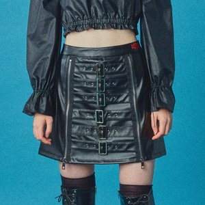 Two Zipper Belt Skirt [Denim]