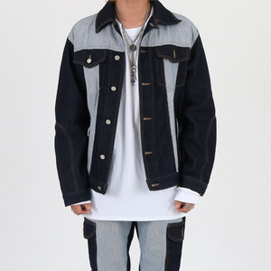 UNBALANCE WASHED JACKET - BLUE