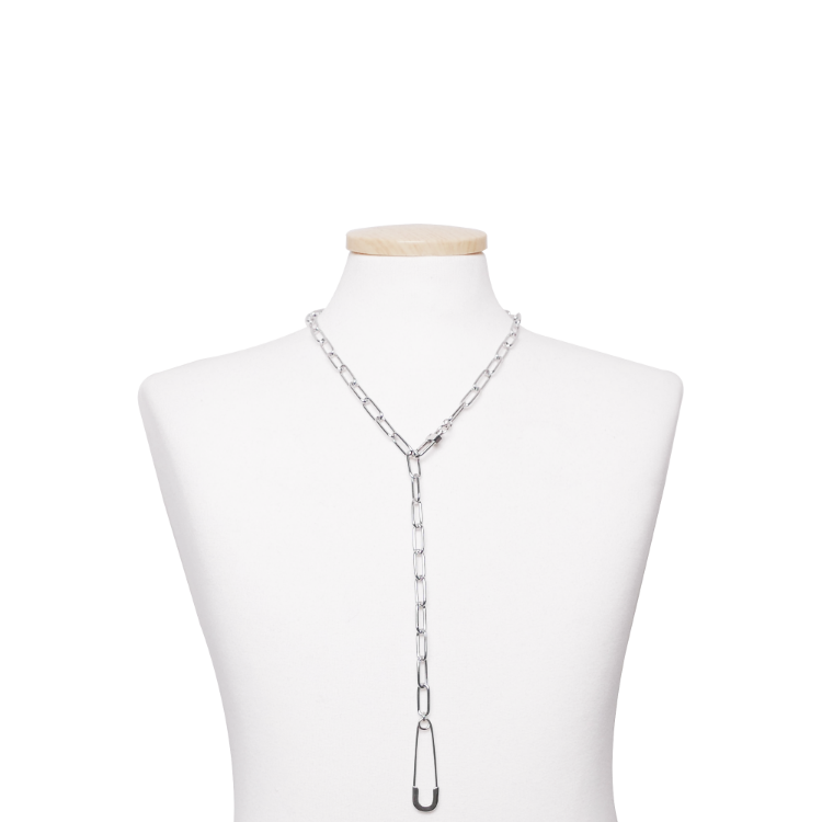 SAFETYPIN LONG CHAIN CHOKER - SILVER