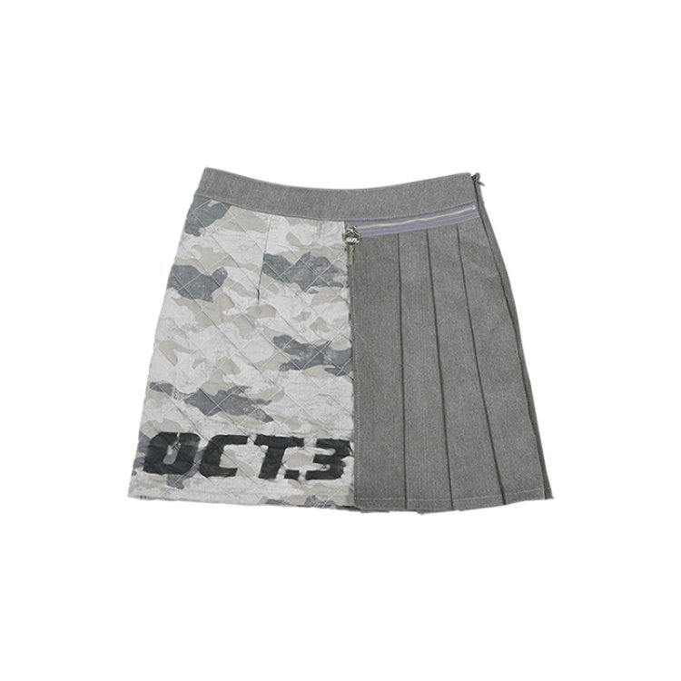 Camouflage Quilting Pleats Skirt [Gray]