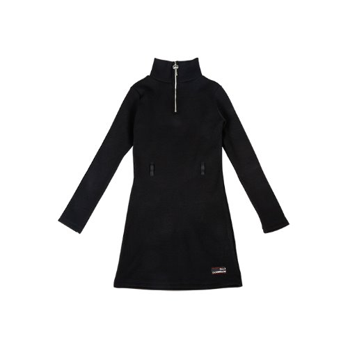 Key Zipper Knit One-piece [Black]