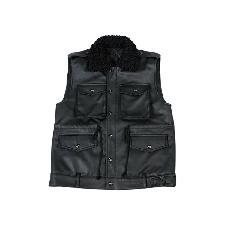 Fur Callor Pocket Vest [Black Leather]