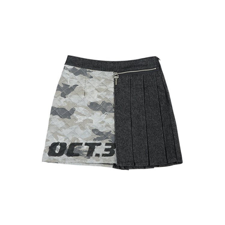 Camouflage Quilting Pleats Skirt [Black]