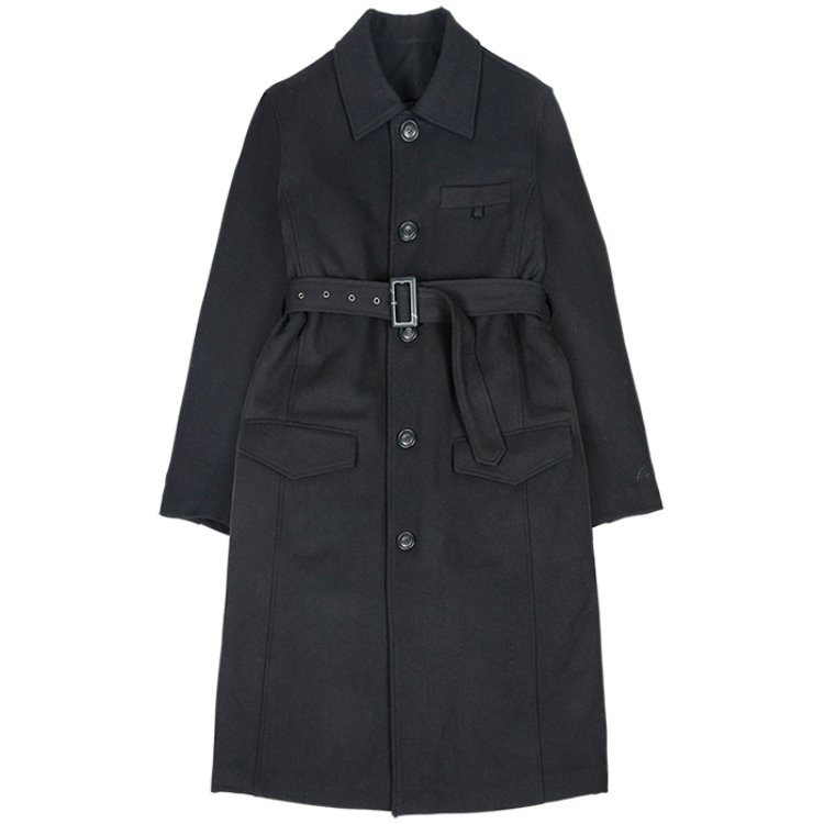 Belt Wool Long Coat [Black]