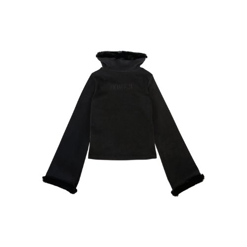Bell Sleeve Wide Turtle Neck T [Black]