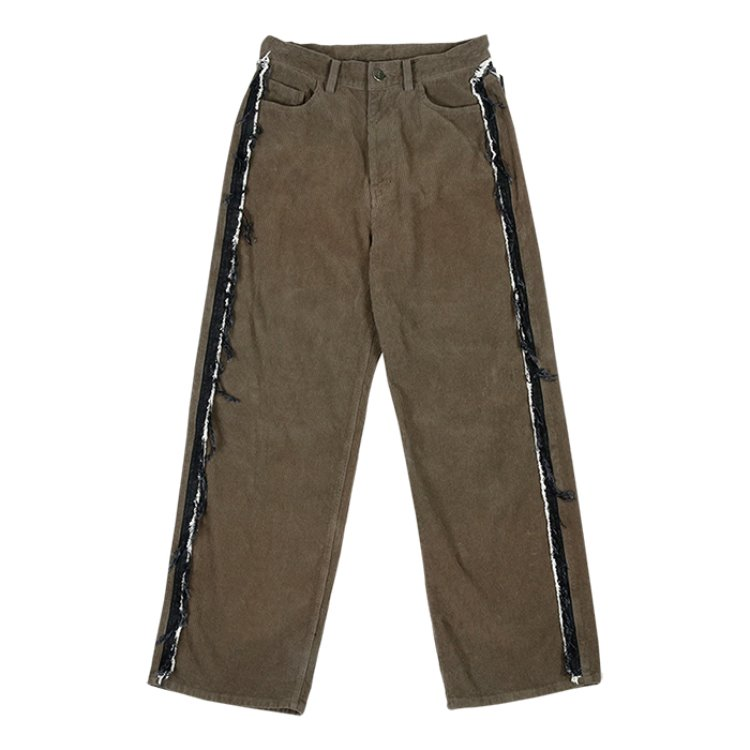 Corduroy Denim Damage Pants [Khaki]