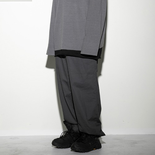 string wide pants (FU-212) - CHARCOAL