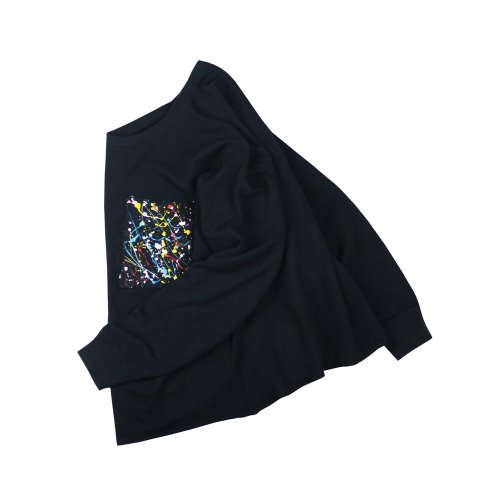 REWORK PAINTING CROP SWEATSHIRT - BLACK