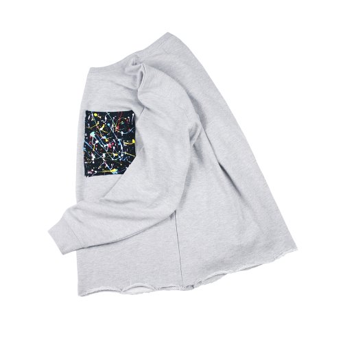 REWORK PAINTING CROP SWEATSHIRT - GRAY