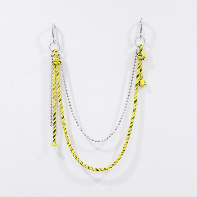 ROPE BALLCHAIN KEYRING - YELLOW