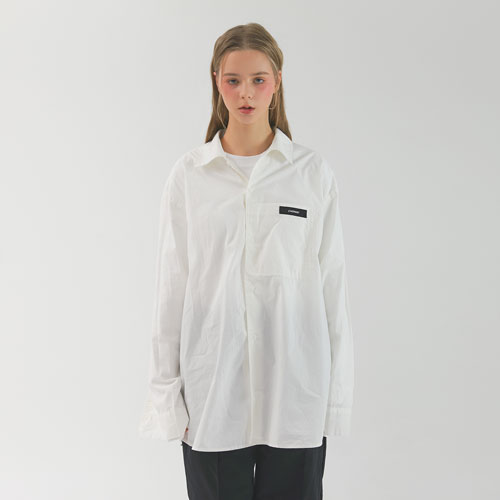 WRINKLE OVER SHIRT - WHITE