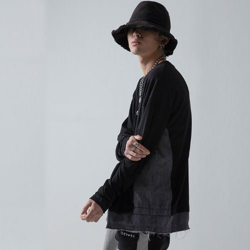 DENIM MIXED SLEEVE - BLACK