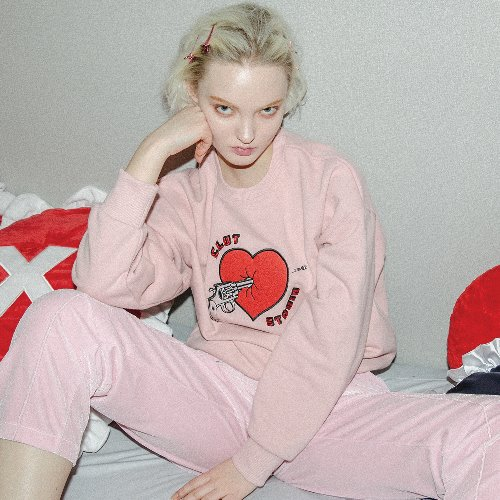 0 1 heart attack sweat shirt - PINK