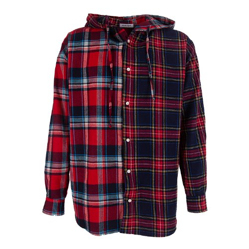 MAEDA RYUTO - Double Check mixed hood shirt (RED)