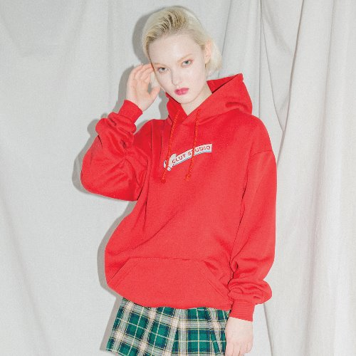 0 2 oversize logo hood t-shirt - RED