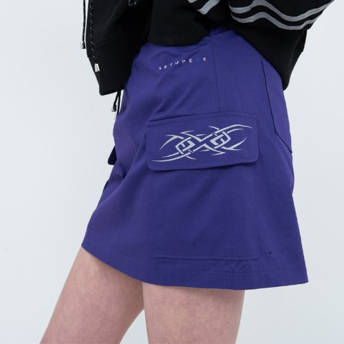 셋업이엑스이- Cargo mini Skirt - Purple