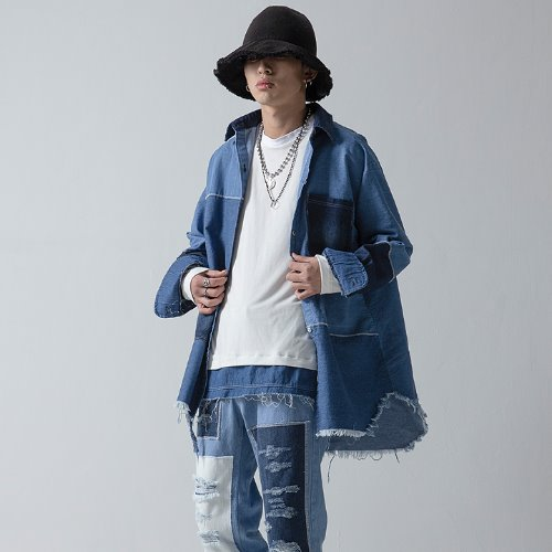 DENIM MIX OVERFIT SHIRT JACKET