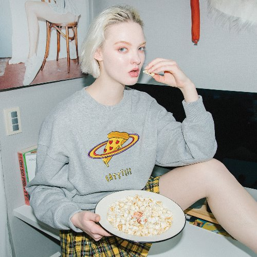 0 1 pizza planet sweatshirt - GREY