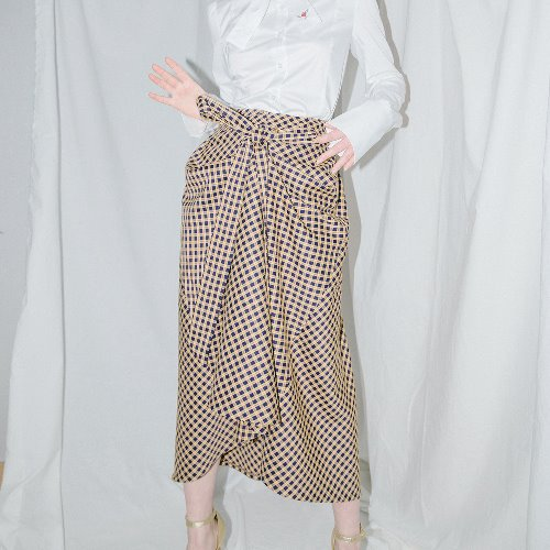 0 8 check tied full skirt - GOLD