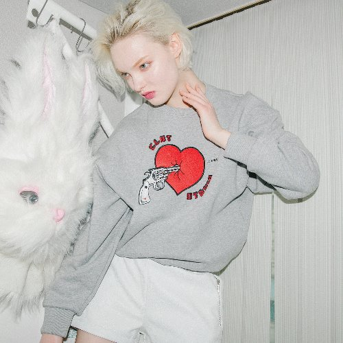 0 1 heart attack sweat shirt - GREY