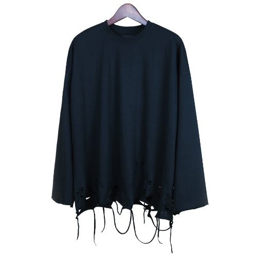 OVERSIZE GRUNGE LONG SLEEVE - BLACK