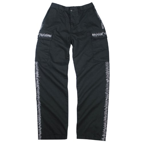 ZIGZAG STITCH CARGO PANTS - BLACK
