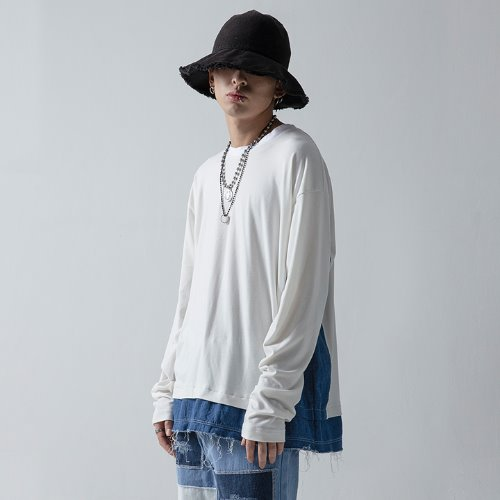DENIM MIXED SLEEVE - WHITE
