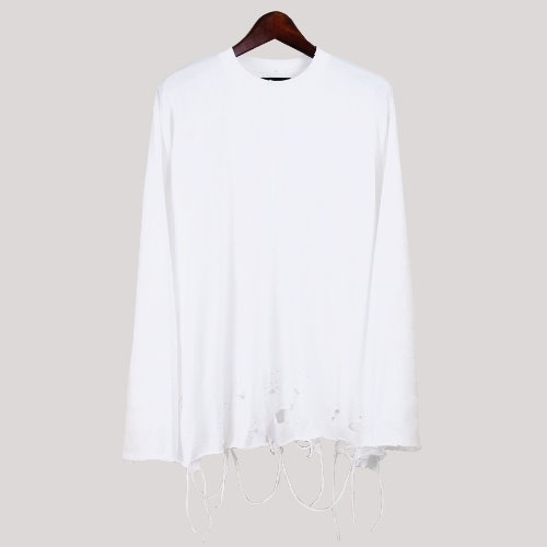 OVERSIZE GRUNGE LONG SLEEVE - WHITE