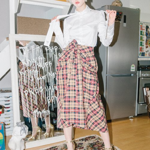 0 8 check tied full skirt - BEIGE