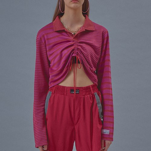 Twinkle Stripe Crop Shirt [Pink]