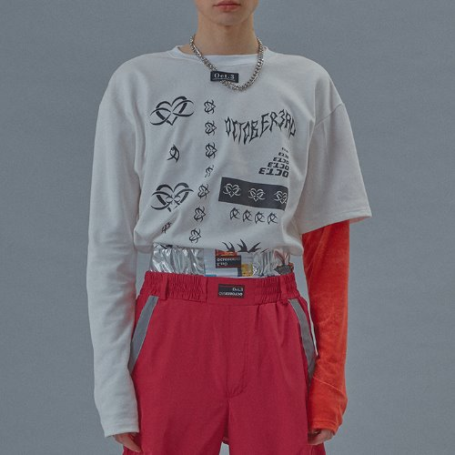 Red Arm Layered T [White]