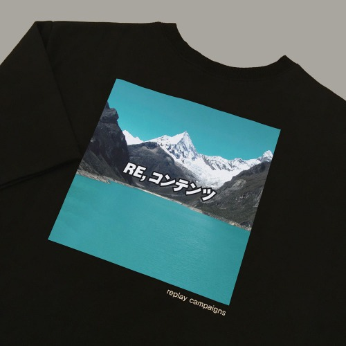 new black replay campaign 1/2 tee (minty)